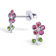 C857-C17826 - Sterling Silver Child's Flower Ear Studs with Crystals