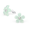 C310-C27535 - Sterling Silver Light Green Flower Ear Studs with Crystal