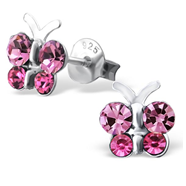 C450-C20049 - Sterling Silver Child's Butterfly Ear Studs with Crystals