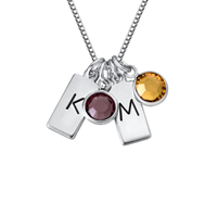 N416 - 925 Sterling Silver Personalized Initial Bar Necklace with Birthstones