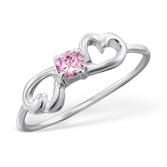 C20443 - 925 Sterling Silver Infinity Heart Ring Cubic Zirconia (Teenager)