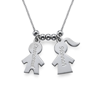 N410 - 925 Sterling Silver Mommy Necklace with Kids Charms
