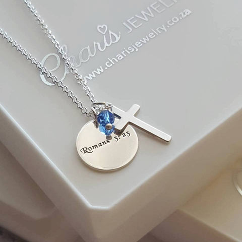 N124 - 925 Sterling Silver Personalized Necklace with Cross & Birthstone, Baptism Gift