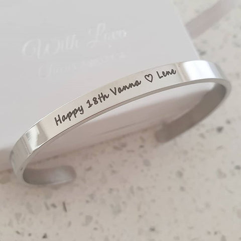 CBA101917 - 18th Birthday Personalized Bangle, Stainless Steel