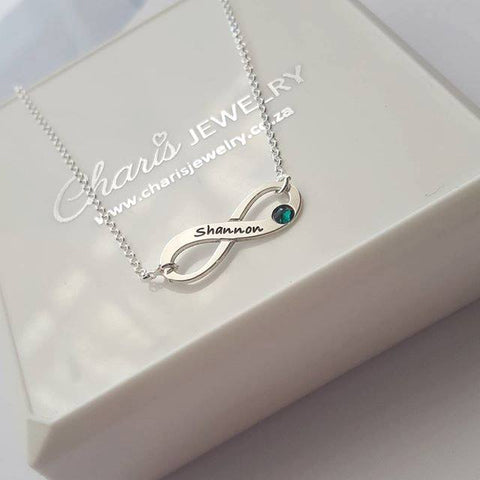 N407 - 925 Sterling Silver Personalized Name and Birthstone Infinity Necklace