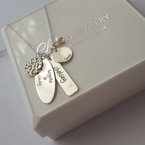 N202 - Sterling Silver Personalized Mother / Family Names Necklace