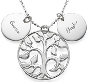 N108 - Sterling Silver Personalized Family Tree Names necklace