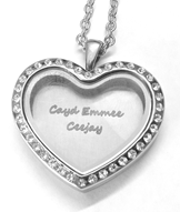 FL14 - Personalized Heart Floating Locket Necklace, High Quality Stainless Steel
