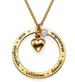 N74 - 18K Gold Plated Personalized Mother's Necklace, any inscription or family Names
