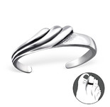 C183-C27170 925 Sterling Silver Wave Adjustable Toe Ring