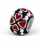 C82-18909 - 925 Sterling Silver Heart Design European Bead, Black with Red Hearts