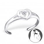 C94-C21061 - 925 Sterling Silver Heart with stone Toe Ring, Adjustable Size