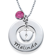 N78 - Sterling Silver Baby feet necklace, with personalized name and birthstone