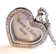 FL42 - Personalized Heart Floating Locket Set, Locket Necklace with Personalized Heart