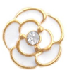 FLC35 - Rose with pretty stone Floating Locket Charms, White or yellow