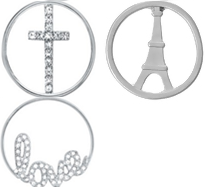 FLD4 - Alloy Cross, Eiffel Tower or Love Round Plate for inside floating locket