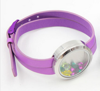 FL24 - Kids Lilac Floating Locket leather Wrist Strap