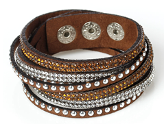FB5-CB72165 - Brown Multi Layer Fashion Bracelet, Brown with Rhinestones, Adjustable Size