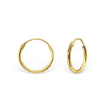 C475-C18357 - Gold Plated Round Hoop Earings 12mm (Suitable for School)