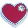 FLC86 - Red Heart with Stone floating charm for floating locket