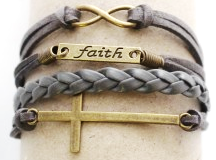 FB8 - Multi Strand Bracelet, with faith, cross & infinity, adjustable size