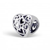 C123-C5742 - 925 Sterling Silver Filigree Heart European Charm Bead