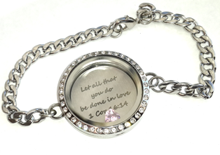 FLS21 - Personalized Jewelry Gift, Floating Locket Bracelet with any wording & charm