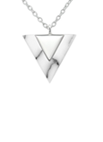 C186 - 925 Sterling Silver Imitation Howlite Triangle Necklace