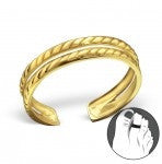 C99-C21280 - Gold Plated over Sterling Silver Chain Design Toe Ring