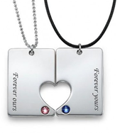 N257 - 925 Sterling Silver Personalized Couples Necklace Set