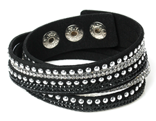 FB6-CB72162 - Black Multi Layer Fashion Bracelet with rhinestones, adjustable size
