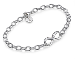 IN104 - Sterling Silver Infinity adjustable Bracelet with personalized initial