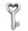 FLC82 - Key, Heart Design Floating Locket Charm (Silver Tone or Gold Tone)