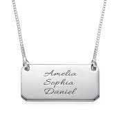 N255 - 925 Sterling Silver Personalized wording Bar Necklace