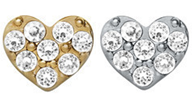 FLC44 - Heart with stones Silver or Gold Tone Charm