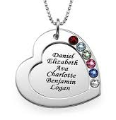 N454 - Sterling Silver Personalized Necklace, 1-6 Family Names & Birthstones