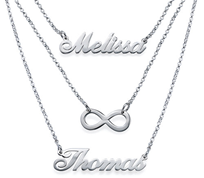 N77 - Sterling Silver Personalized Couples Names and Infinity Necklace