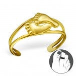 C105-21161 - Gold Plated Baby Feet Toe Ring, Adjustable Size