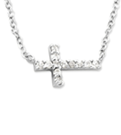 C208-C19678 - Sterling Silver Inline Small 12mm Cross Necklace