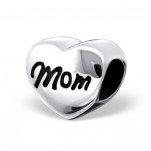 C57-C17134 - Sterling Silver Mom Heart European Bead Charm