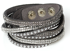 FB7 - Grey Multi Layer Fashion Bracelet, with rhinestones, adjustable size