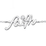 C195-C25080 - 925 Sterling Silver CZ Faith Bracelet, Adjustable fit 18cm