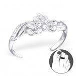 C93-C21053 - 925 Sterling Silver Flower Toe Ring, Adjustable Size