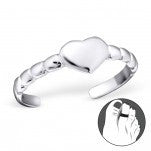 C96-21055 - 925 Sterling Silver Heart Toe Ring, Adjustable Size
