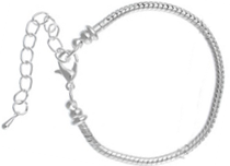 EB8-CB06406 - Silver Plated Adjustable European Bracelet with Extender Chain, Adjustable Size