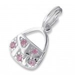 C17499 - Sterling Silver Handbag Dangle Charm, with pink stones