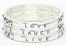 151N - Live well, Laugh often, Love much Alloy Stretch Bracelet Set