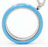 FLEB - Blue  Round Stainless Steel Floating Locket Necklace with chain, twist open