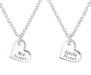 C198-C31093 - 925 Sterling Silver Big Sister, Little Sister Necklace Set