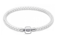 C1056-C25120 - 925 Sterling Silver & Leather White European Bracelet, 19cm